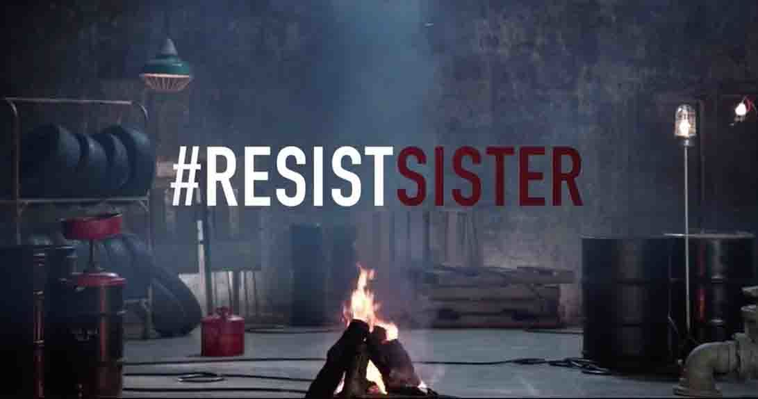 # Resist Sister text over live stream