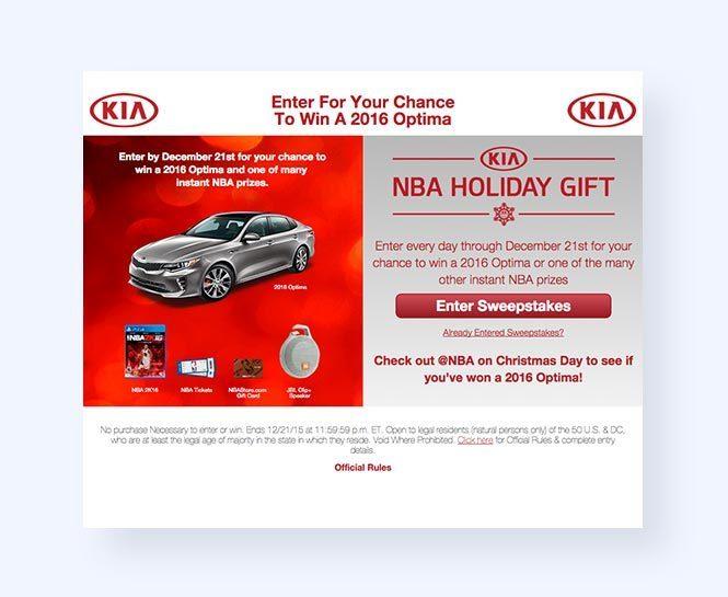 Kia NBA Holiday Sweepstakes giveaway