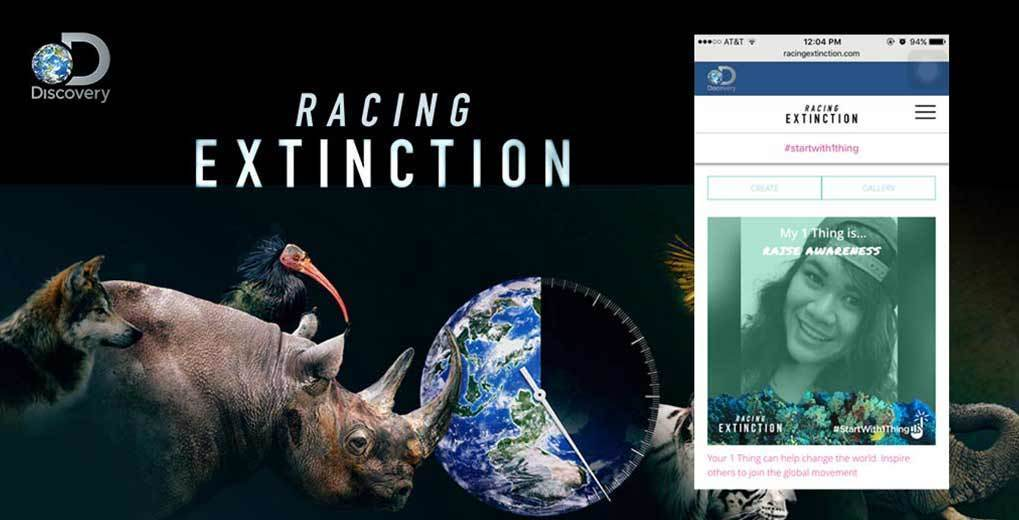 Rhino, Wolf and bird with the world and clock image, with the racing extinction site and uPic example