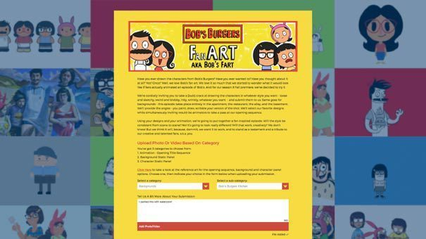 Bob's burgers fan art uploader form and examples in background