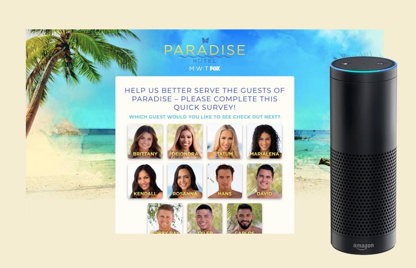 Paradise hotel CTA promoting eleven contestants to vote for via Amazon Alexa