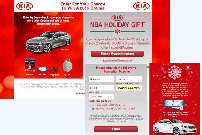 KIA Sweepstakes landing page, sweepstakes form and winner message