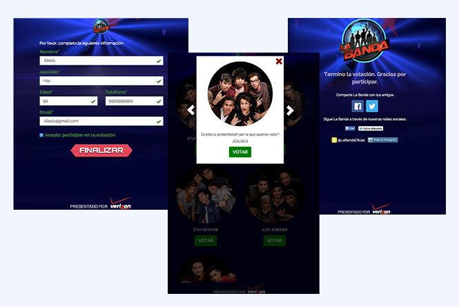 Screenshots of the online La Banda Vote
