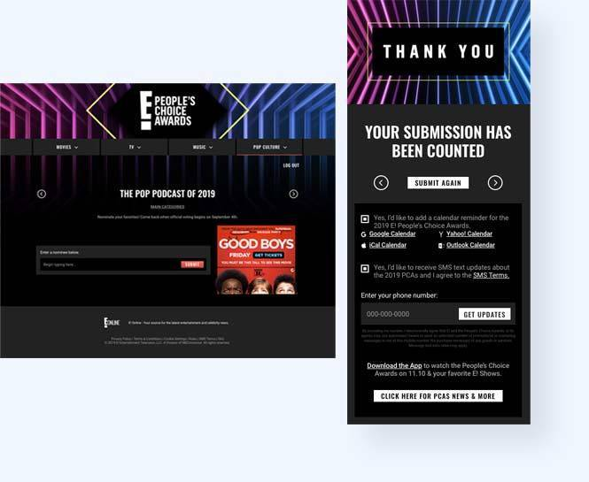 "E! People's Choice Awards online write-in voting page with form to submit a nominee name and screen shot of mobile phone ""Thank You"" page"