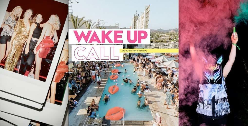 Three panel image with Wake Up Call logo showing woman wearing high fashion in first image a pool party in the second image and woman holding two colorful smoke bombs