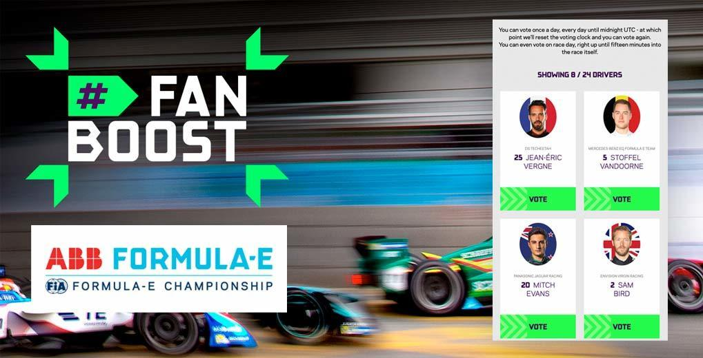 Fanboost logo and lock up of four drivers up for vote