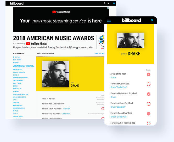 2018 AMA artist page where you can select all the categories to vote for that artist
