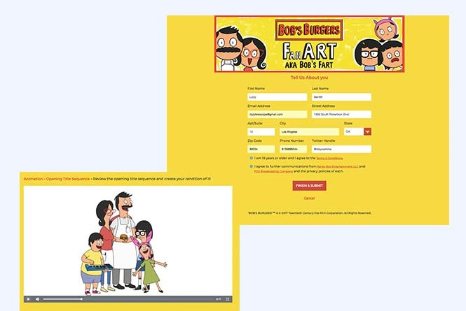 Bob's Burgers Fan Art upload and submission form