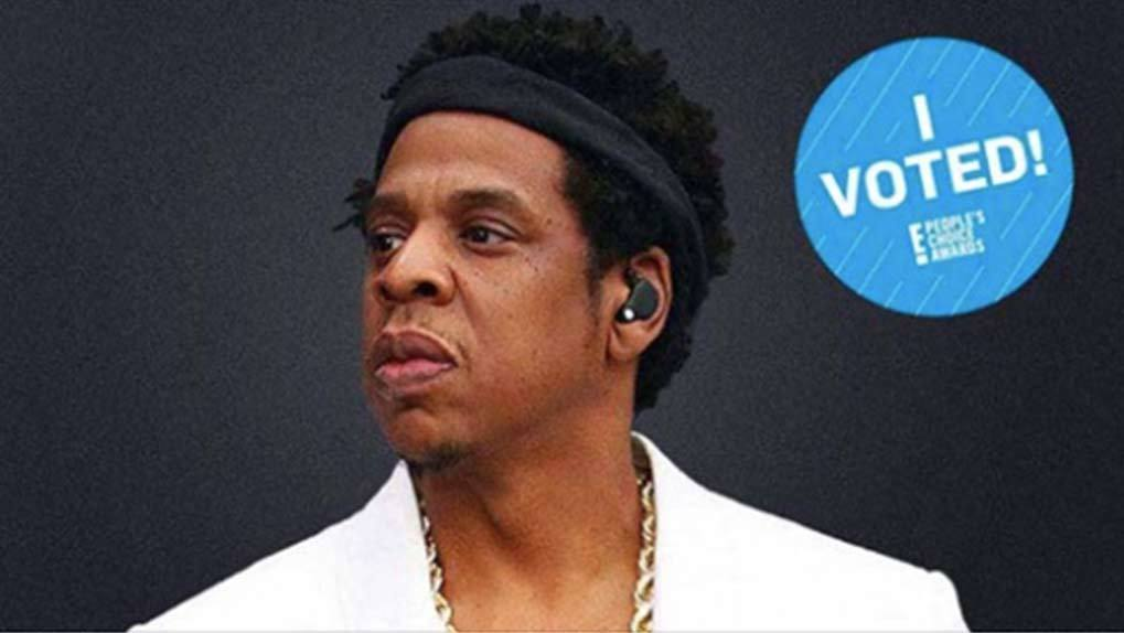 """Jay Z with the """"I voted"""" People's Choice Logo"""