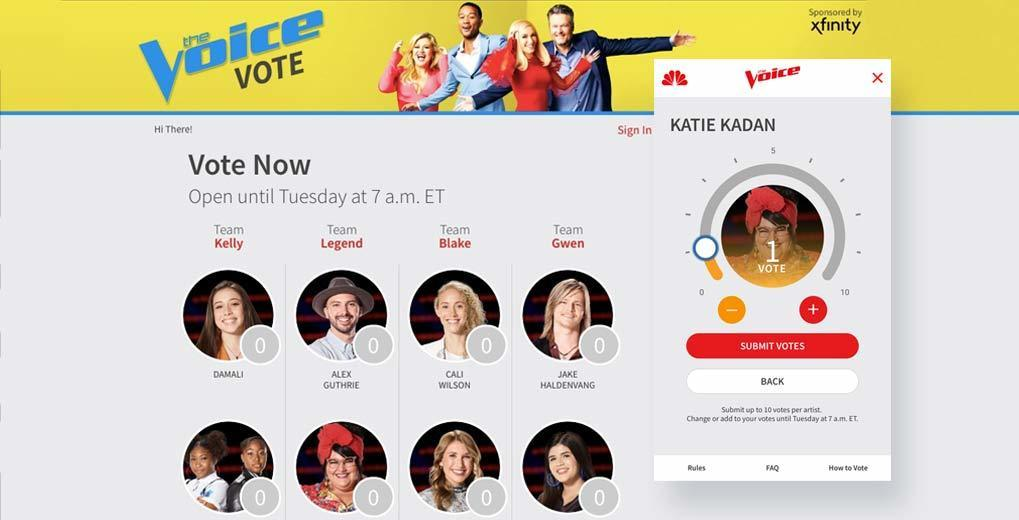 The Voice voting page with desktop and mobile view
