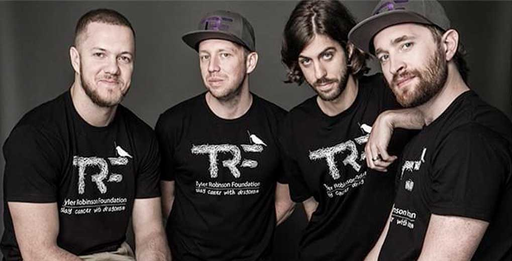 Imagine Dragons wearing Tyler Robinson Foundation t shirts