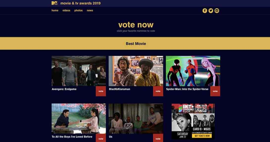 Online voting page with nominees