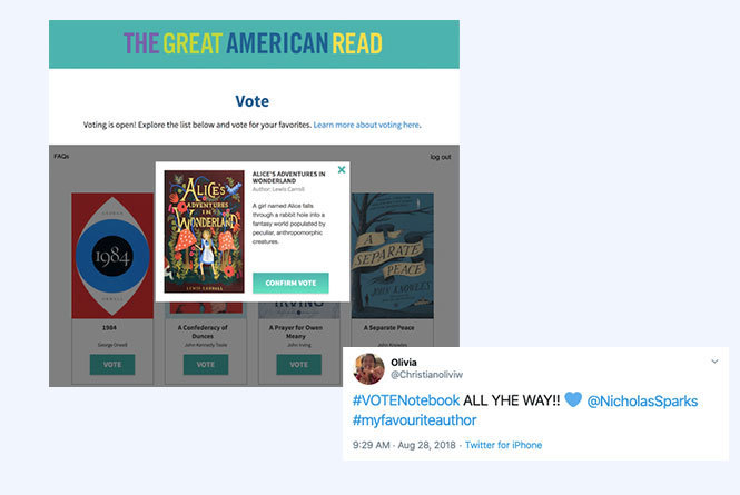 Online vote for Alice in Wonderland and Twitter vote for The Notebook