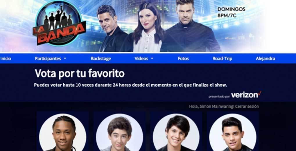 Four vote contestants on the La Banda vote site