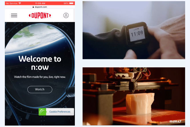 3 images: Mobile view of DuPont site to watch live commercial, closeup of wristwatch displaying time, 3D printer printing a prosthetic hand