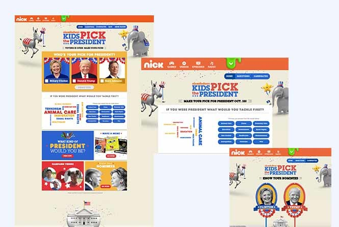 Kids pick the president online hub, word map and candidate information page