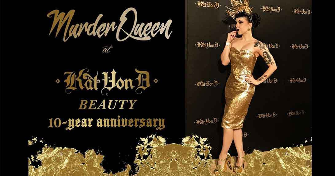 10th anniversary promo logo and woman posing in front of backdrop