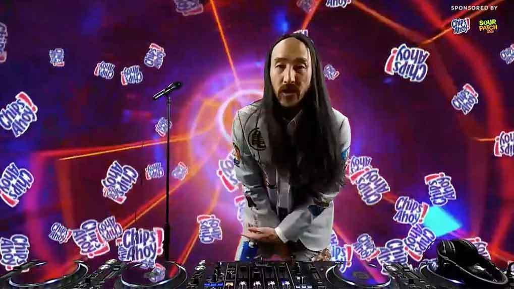 steve aoki singing with chips ahoy animation background
