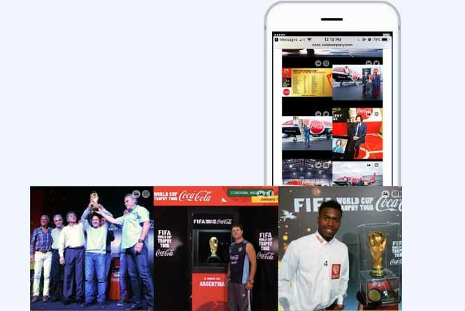 Fan Filter images of World Cup trophy tour in mobile view
