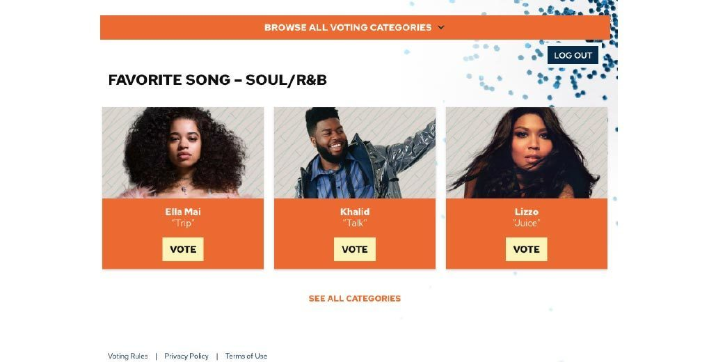 Online voting page with artists