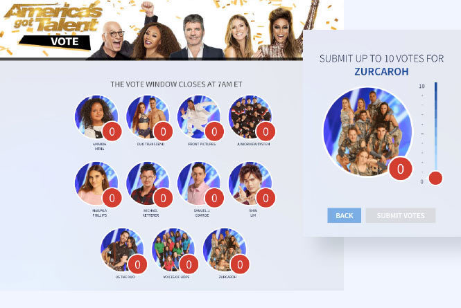 AGT online voting page with desktop and mobile view