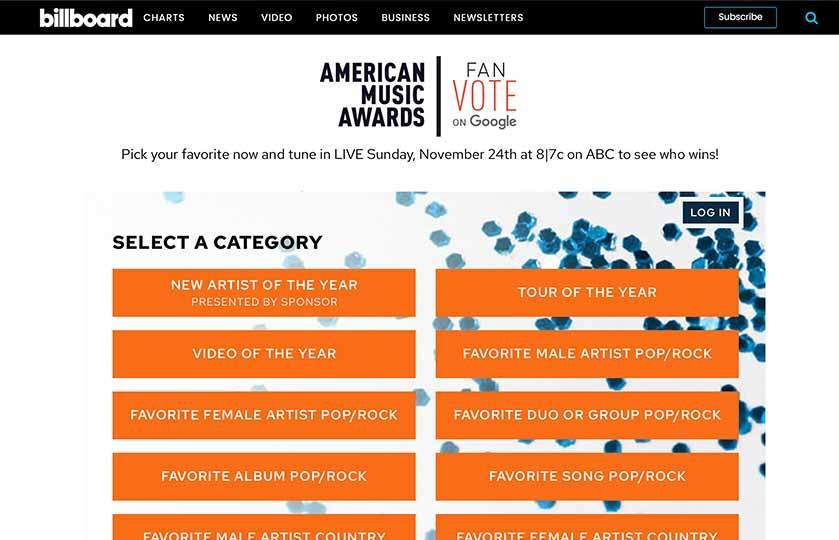 American Music Awards category vote landing page