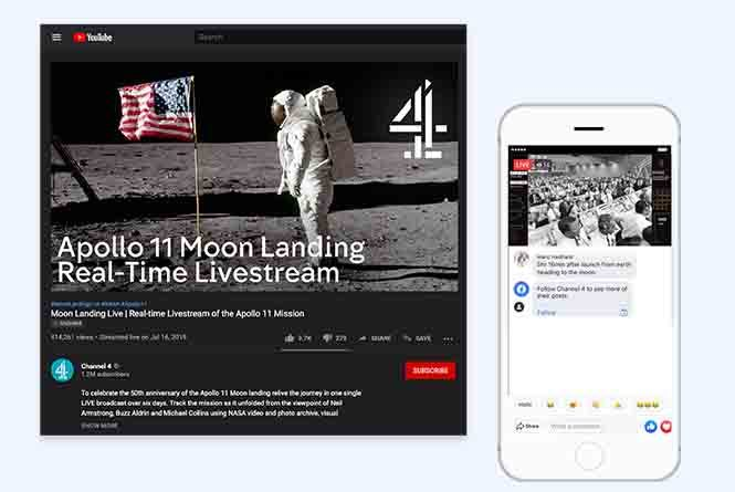 YouTube live stream image and in phone live stream image of Moon landing