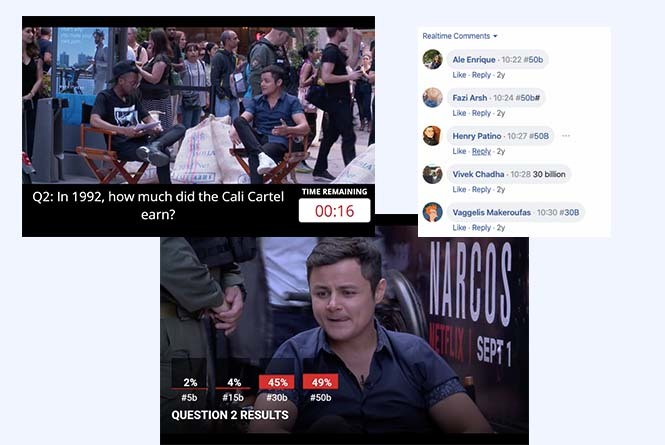 FB Live stream interviewer and actor with on-screen graphics showing questions and audience answers