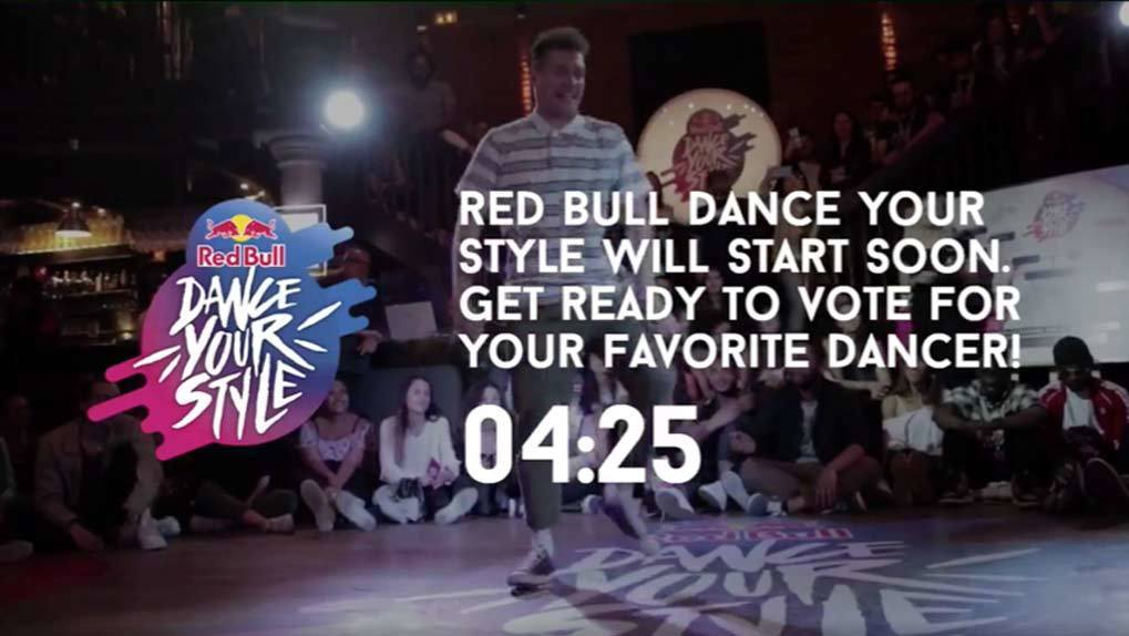 Live Stream countdown and Red Bull Logo over image of man dancing