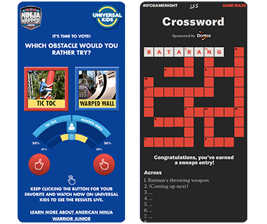 Telescope clients IFC Game Night crossword play along and American Ninja Warrior Jr. Passion meter