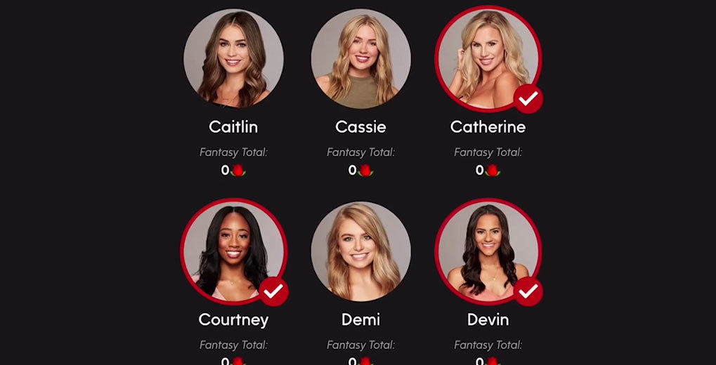 Fantasy League app with pictures of six women