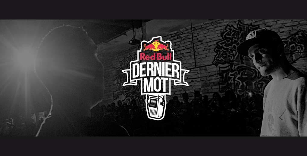 Black and white two guys facing each other in front of graffiti wall with Red Bull Dernier Mot logo overlay