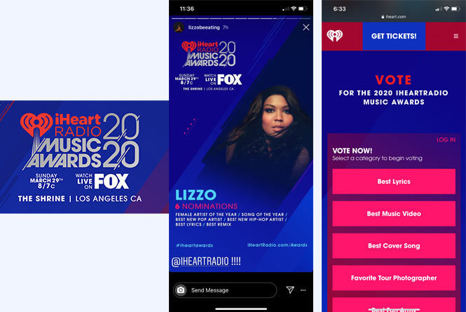 Awards promo and mobile views of voting page with nominees and list of categories