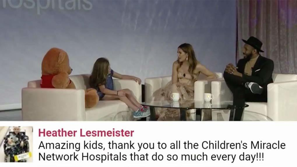 Allison Holker-Boss and Stephen Boss interviewing pediatric patient and user comment on bottom of screen
