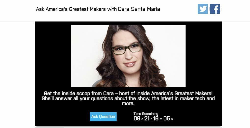 Call to action for at home viewers to ask a question to Cara and be used in the show