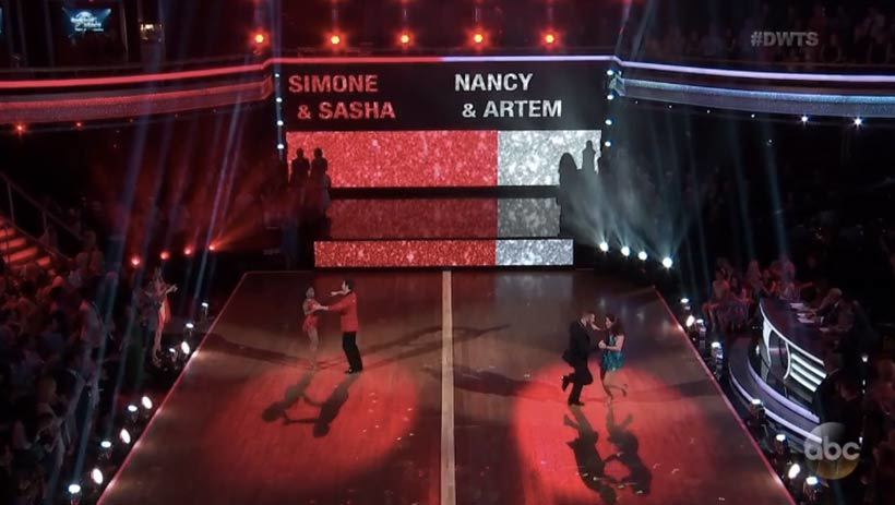 Dancing With the Stars couples Simone and Sasha and Nancy and Artem on the dance floor with full scale floor projection of passion meter behind them