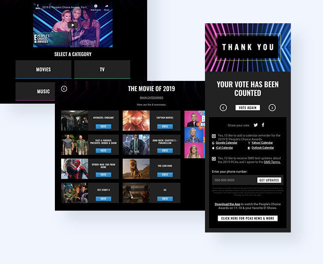 Landing page with overall categories, specific category with 6 nominees showing, thank you modal.