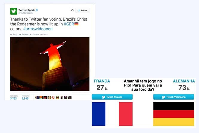 Christ the Redeemer in Rio de Janeiro lit up in German and Argentinian colors during the 2014 FIFA World Cup in Brasil