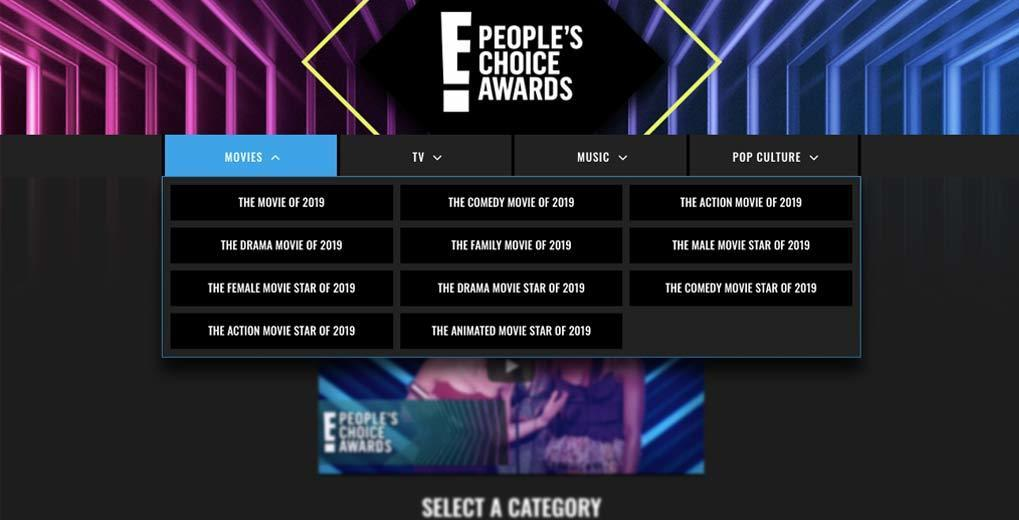 E! People's Choice Awards 2019 landing page with movies category selected and eleven categories shown