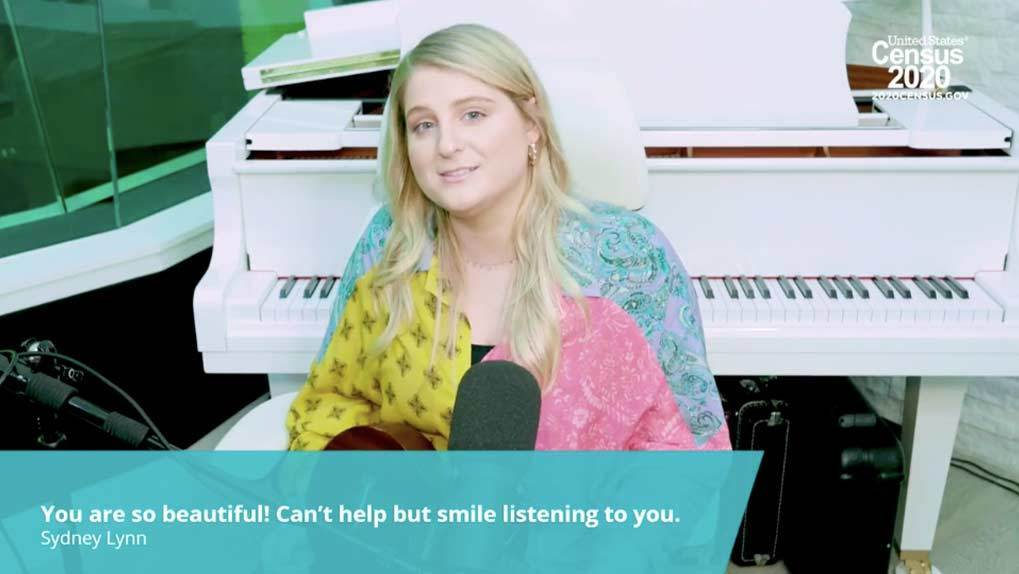 Meghan Trainor singing with fan comment
