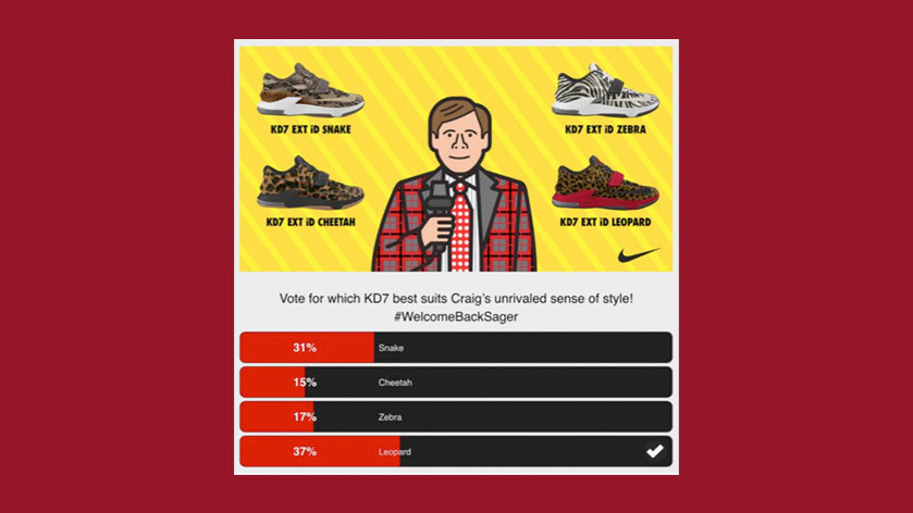 Craig Sager's welcome back game poll where users chose which KD7's he should wear