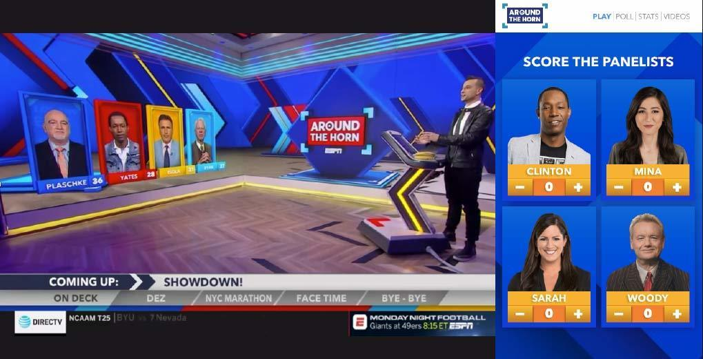 Around The Horn Television program with panelists present and scores visible
