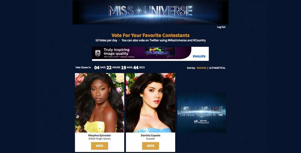 Miss Universe website with voting CTA, countdown to voting closed, and two contestants