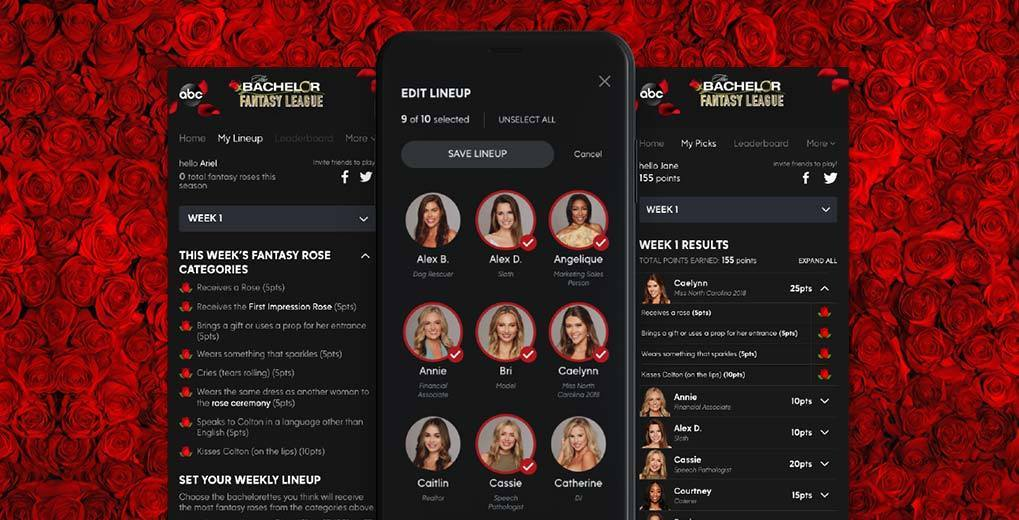 Roses in background and three mobile phone screens with Bachelor fantasy app pages