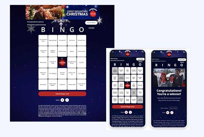 Bingo cards in mobile and desktop view as well as a winning card
