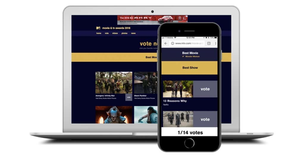 Movie and TV awards online voting page desktop and mobile view
