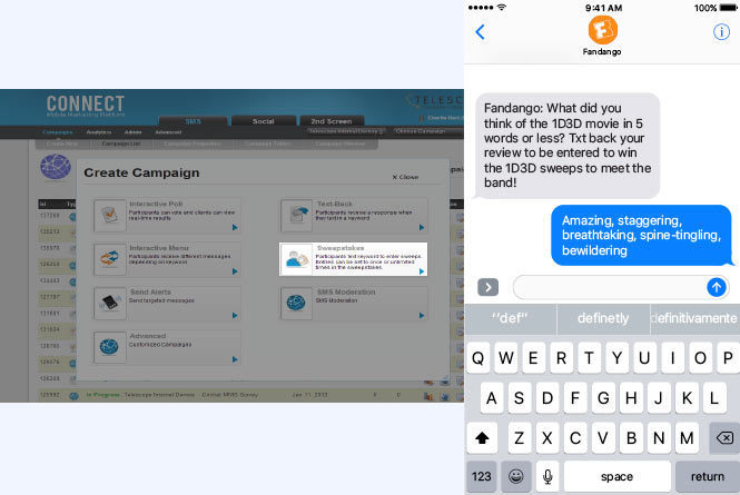 Text message with sweep entry and CONNECT platform image