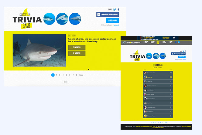 Shark Week trivia game question and leaderboard