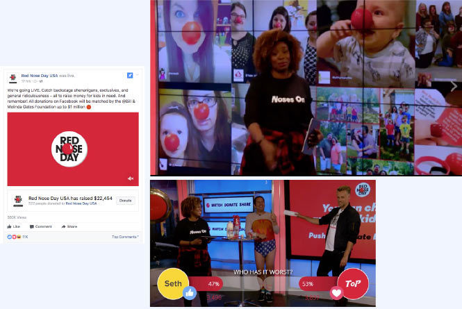 Social post about donating, on screen host in front of fan feed and multiple host reacting to Facebook live poll