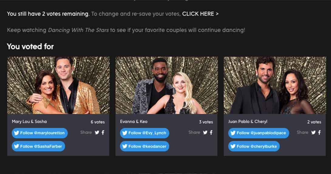DWTS online voting page
